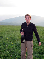 sarah opens champagne atop max patch