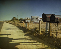 Cactus Road (Maureen Bond) Tags: road ca sky texture weeds shadows desert telephone sunny mailboxes dirt wires poles maureenbond