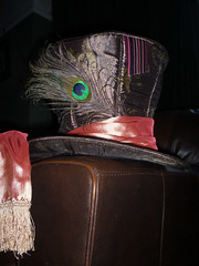 Mad Hatter top hat with peacock feather