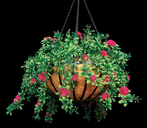Outdoor Artificial Flowers - Azalea Hanging Basket 24""
