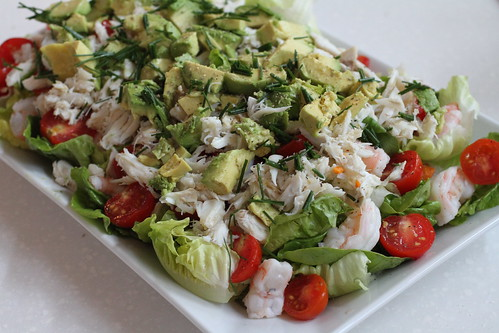 Bliss cooks: salad of shrimp, lumb crab, avocado, bibb lettuce, cherry tomatoes, and chives.