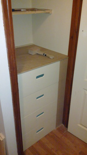 Painted drawers, fascia, and top