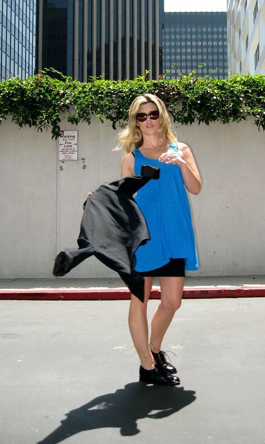 bandage skirt+tunic tank+black blazer+oxfords+1
