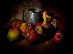 My Sweet Apples (GARY HICKIN (GAZART)) Tags: wood stilllife food brick handle drops lowlight pentax drink juice cork cider container pottery apples drips tap pewter stoneware tankard flagon planished k20d