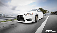 ISS Forged Mitsubishi EVO! (GREATONE!) Tags: trees sky white motion clouds nikon florida miami wheels x palm rig mia rims fla mitsubishi forged iss evo steet slammed 305 d300s