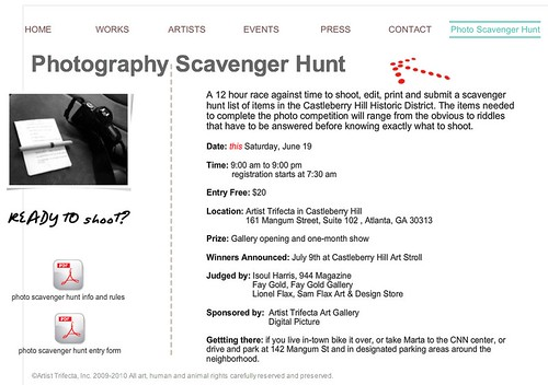 Artist Trifecta's Photography Scavenger Hunt, June 19th in Castleberry