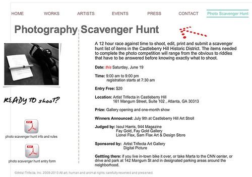 Artist Trifecta's Photography Scavenger Hunt, June 19th in Castleberry