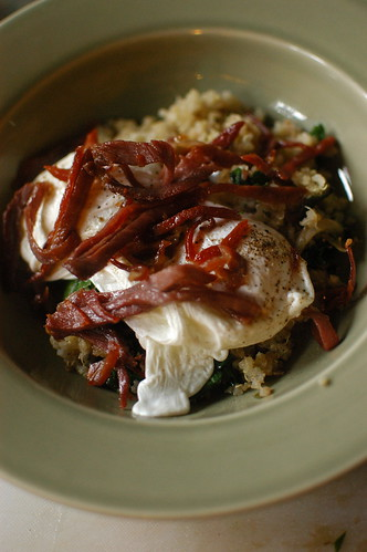 quinoa, swiss chard, poached egg, and La Quercia Rossa prosciutto