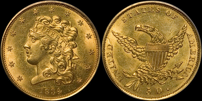 1834 plain 4 $5.00 PCGS MS63, CAC sticker