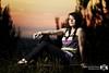 Summer Sunset (Rick Nunn) Tags: sunset shadow portrait sun hot tree cute girl grass set pose bench warm ellis jeans sit pigtails kym piggies canonef135mmf2l strobist vsortpop