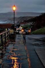 robin hoods bay (alanpeacock2) Tags: robinhoodsbay ngc yorkshire england reflection rain lamppost streetlight dusk twilight
