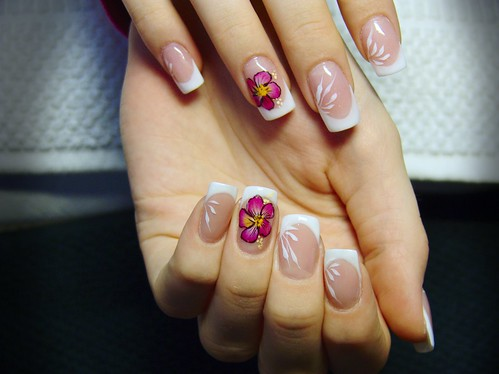 4717290550 691cc0f734 perfect manicure nails with flowers French manicure with flowers French manicure fashion manicure elegant manicure decoration of nails black nail polish beautiful manicure