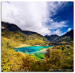 Jiuzhaigou :: The Peacock Lake (DanielKHC) Tags: china blue autumn lake digital 1 interestingness high nikon dynamic scenic explore sichuan  range jiuzhaigou emerald moutains dri hdr blending d300  danielcheong danielkhc vertorama tokina1116mmf28 qionglaiminshanconiferforests