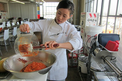 Making Kimchi: chef EJ Jeong adds the mix from the blender