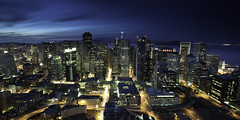 * (maxxsmart) Tags: sanfrancisco california longexposure sunset streets color skyline clouds canon bay holidays downtown cityscape clocktower christmaslights goldengate bayarea alcatraz transamerica angelisland discoball embarcaderocenter ef1740f4lusm singhray onerincon andilikeit 23stop daybecomesnight 5dmarkii softedgendgrads whattheitsincolor effinright