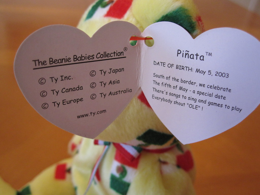 ... Ty Piñata Beanie Baby Hang Tag (jessicagreen0202) Tags baby animal toy  stuffed babies get ... 38647ead454e