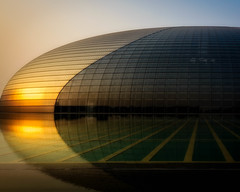 The Giant Egg II (Explored) (AdeRussell) Tags: dawn beijing buildings reflections sunrise china travel architechture cn