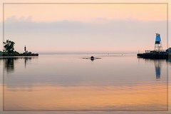 A Window of Warm Light (Note-ables by Lynn) Tags: sunrise water rowing owensound georgianbay harbor serene solitude earlymorning