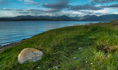 Shore walks with a view.... (Coisroux) Tags: dusk horizon walks embankment shoreline loch creran grass rocks mountains serene d5500 nikond nikkor scotlanddiscovered scoland argyle water pebbles lichen