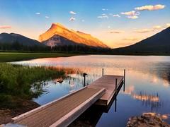 Sunset in Banff - iPhone (Jim Nix / Nomadic Pursuits) Tags: goldenhour prohdr dock lake vermillionlakes canada alberta banff sunset travel snapseed iphone