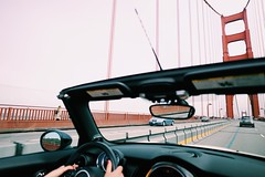 Golden Gate Bride Cabrio Convertible Mini Moment // Transportation Mode Of Transport Land Vehicle Car Steering Wheel Windshield Driving Day Road No People Outdoors Sky Close-up at Golden Gate Bridge (spieri_sf) Tags: transportation modeoftransport landvehicle car steeringwheel windshield driving day road nopeople outdoors sky closeup