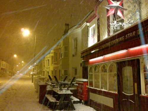 Brighton's Evening Star in the snow