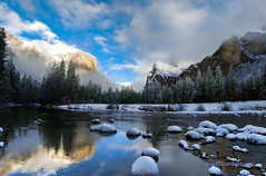 Yosemite National Park, California (Darvin Atkeson) Tags: california usa fog america forest reflections river landscape us waterfall nationalpark sierra yosemite bridalveil elcapitan sierranevada mercedriver darvin threebrothers   atkeson  darv   liquidmoonlightcom