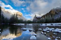Yosemite National Park, California (Darvin Atkeson) Tags: california usa fog america forest reflections river landscape us waterfall nationalpark sierra yosemite bridalveil elcapitan sierranevada mercedriver darvin threebrothers   atkeson  darv   liquidmoonlightcom