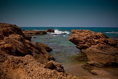 Beyond the Sea (JoLoLog) Tags: sea beach israel rocks mediterranean joe themediterraneansea canonxsi bytheancientcityofcaesarea