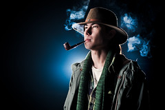 Chris Snell (Jeremy Snell) Tags: chris light cold hat night 50mm farm smoke air pipe puff cigar smoking taste breathe tobacco snell strobist