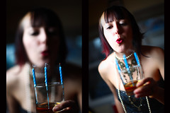 A very happy birthday (reelgeek) Tags: birthday portrait woman glass candles 33 smoke wax scotch fancydress erincaton eventshots reelgeekfp