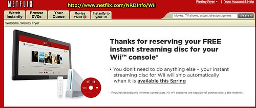 Netflix FREE instant streaming disc for Wii