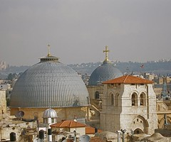 Domes and cropped bell tower of Church of the Holy Sepulchre (Seetheholyland.net)