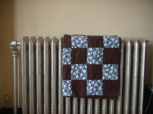 brown + blue floral baby quilt