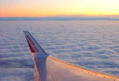 Above the Clouds (Claude@Munich) Tags: sunset sky alps clouds plane germany bayern deutschland sonnenuntergang oberbayern flight himmel wolken flugzeug windowseat abovetheclouds airberlin flug claudemunich airberlincom fensterplatz