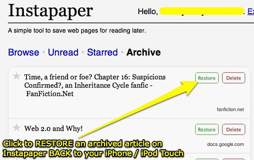 Instapaper: Restore an archived article