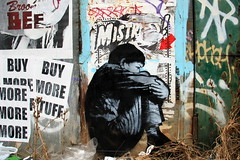 huddled in front of the shack (Luna Park) Tags: nyc boy streetart ny newyork brooklyn matt stencil lunapark shack siren bushwick avoid vfr skewville phonoh jefaerosol