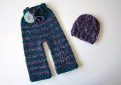 *spring sale* Night Iris set - longies & cabled hat - newborn