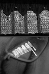 (Rachelle Hill) Tags: blackandwhite detail reflection window closeup contrast glasses lace dyptic closedeye nickhill