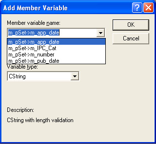 DB Field selection in Add Member Variable dialog