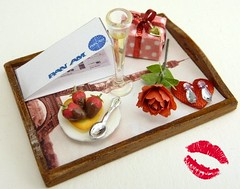 Romantic Valentine's Champagne Breakfast on Tray