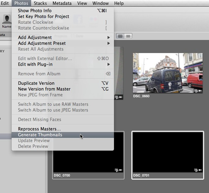 Photos > Generate Thumbnails in Aperture 3