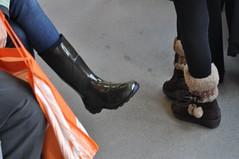 Rubber v. Shearling (LaValle PDX) Tags: portland boots rubber pdx portlandoregon streetcar rubberboots shearling blackboots portlandstreetcar