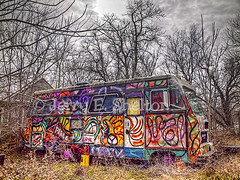 Travelin Along There's a Song That We're Singin' C'mon Get Happeeee! (Uncle Phooey) Tags: abandoned oklahoma cool artwork explore missouri spraypaint psychedelic hdr partridgefamily hippiebus cmongethappy travelinalong unclephooey theresasongthatweresinging lenapah groovymanjustgaroovy