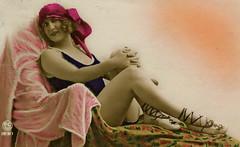 Painted Lady 4 (Terterian - A million+ views, thanks.) Tags: france art fashion illustration vintage naughty french seaside glamour erotic artist highheels post legs artistic antique postcard fineart rude erotica card postal 1919 pinup saucy parisian ankles swimwear cartolina risque francais fashionable postkarte eroticism cartepostale beachwear