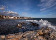 Malaga Beach (mortenprom) Tags: ocean sea house beach water spain espanha rocks wave espana espagne spanien spania mlaga mortenprom