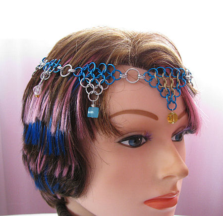Blue, Silver, and Gold Chainmaille Circlet - Midwinter Skies