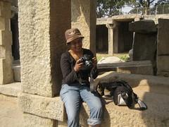 589. Hampi (7): Just a break (profmpc) Tags: canon underground ruins photographer stonecarving meera stonecarvings hampi shivatemple vijayangara krishnadevarayar