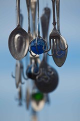 Wind chimes, I guess (SF knitter) Tags: blue newzealand green glass balls fork spoon windchimes whimsical ohope ohopemarket notveryusefulforks