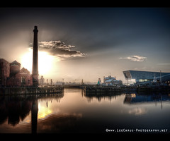 Spring over Albert Dock, Liverpool (Lee Carus) Tags: new sunset sea reflection museum architecture liverpool pub pancake pumphouse hdr goldenhour merseyriver 3graces panasonicgf1 leecarus